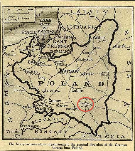 Map from The Telegraph (http://www.telegraph.co.uk/history/world-war-two/6080985/World-War-2-Poland-resists-invasion-on-three-frontiers.html), only slightly altered by my incredible editing skills to show you where my grandparents are from.